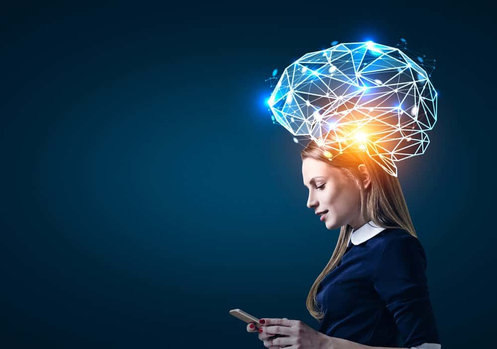 Woman with smartphone affecting her brain