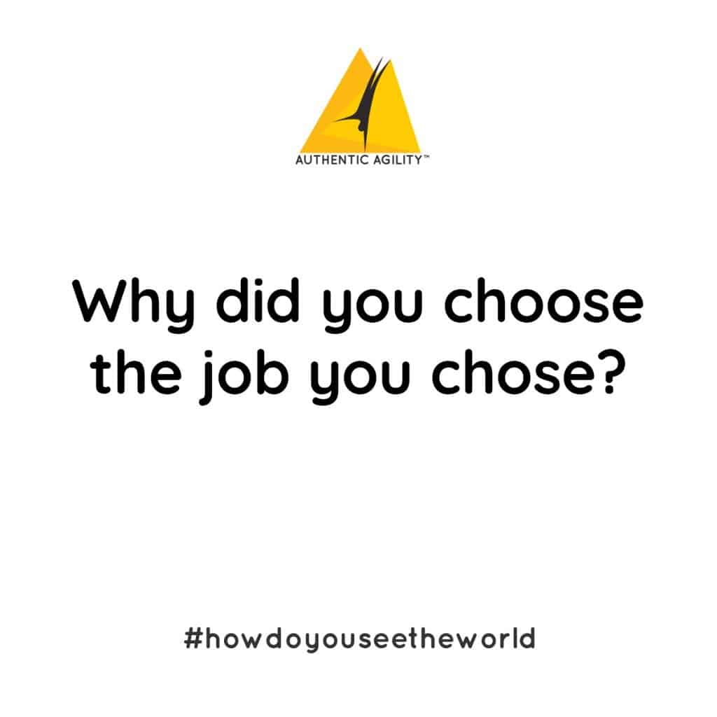 large display of question: why did you choose the job you chose?