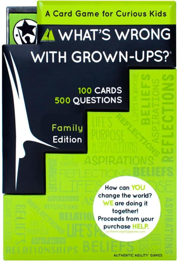 Authentic Agility Game's kids and family tabletop discussion game What's wrong with grown-ups